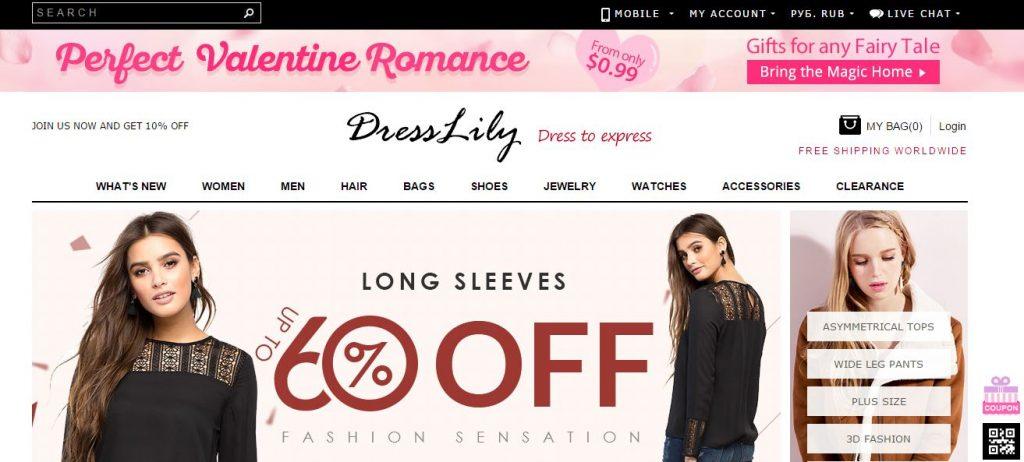 Dress Lily онлайн-магазины Со всего света: крупные онлайн магазины Dress Lily 1024x462