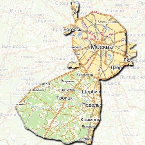 карта Москвы после всех расширений, Приди ко мне брате в Московь