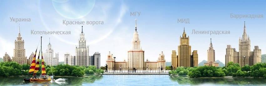сталинские высотки высотки Экскурсия по Сталинским высотками. Факты и загадки Vse Stalinskie vysotki s nazvaniyami min