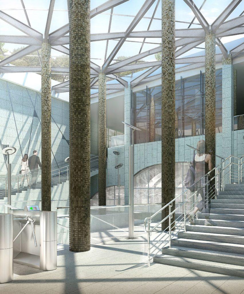 выход со станции «Лесопарковая»  Согласован проект наземного вестибюля станции «Лесопарковая»                               15 852x1024